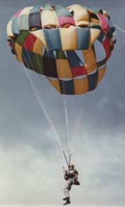Mary parachuting
